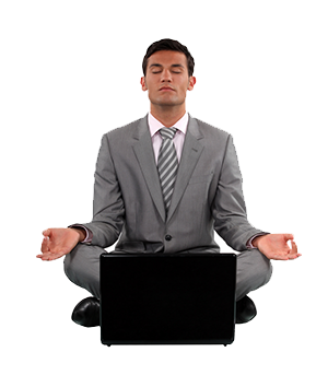 Zen businessman with a laptop